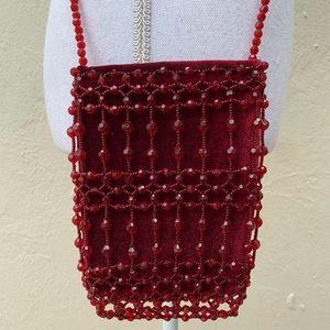 Handbags - Small Red Crossbody Beaded Purse Pouch Bag